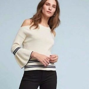 Anthro Knitted & Knotted cold shoulder sweater